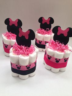 FOUR Minnie Mouse Diaper Cakes Baby Shower by MrsHeckelDiaperCakes