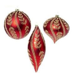 RAZ Imports - Red and Gold Ball, Drop, Kismet Glass Ornaments