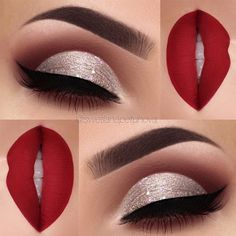 Silver Glitter Shades and Classic Red Lips picture 3