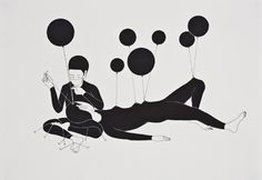 Moonassi Drawing: The Beautiful Graphic Art of Daehyun Kim Art And Illustration, Black And White Illustration, Illustrations, Korean Illustration, Balloon Illustration, Daehyun, Simple Character, Black And White Drawing, Black White