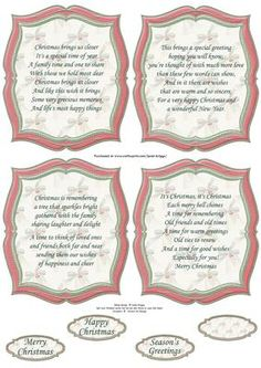 CHRISTMAS PLAQUES VERSES in Pastel Red on Craftsuprint designed by Janet Briggs - 4 Christmas plaques, with Christmas verses. Use as toppers on card fronts and add embellishments, or use as insert plaques inside the card.Also includes 4 coordinating sentiment tags. One is left blank for your own greeting.