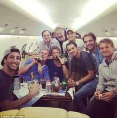A host of Formula One drivers managed to find time to relax during their flight back from the inaugural Russian Grand Prix on Sunday after a tough week for the world. Red Bull Racing, F1 Racing, Formula 1, Eddie Jordan, Russian Grand Prix, David Coulthard, Mark Webber, Planes Party, Nico Rosberg