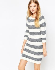 Stripe sweater dress for winter style. Monochrome fall outfit.