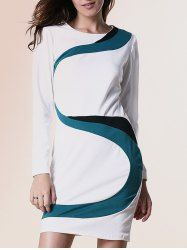 Chic Round Collar Long Sleeve Hit Color Spliced Dress For Women