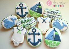1 DOZEN - Pregnancy Announcement Pregnant Baby Shower Decorated Cookies Nautical Sail Boat Whale Ship Anchor