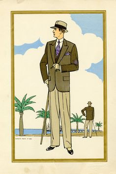 Vintage Fashion Illustrations from the - Historical Fashion 1920s Mens Clothing, 1940s Mens Fashion, Vintage Fashion, Victorian Fashion, Fashion Illustration Vintage, Illustration Mode, Fashion Illustrations, 1920 Men, Art Deco