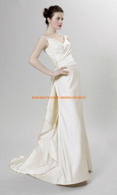 V-neck Schlichte Brautkleider 2014 aus Satin