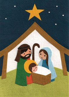 "A lovely hand-crafted scene of baby Jesus in the manger decorates this lovely Christmas card. - Handcrafted in the Rwanda - 4.5"" X 5.75"" - Free Shipping on Greeting Cards Handcrafted by young people i"