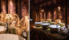 The toilets at Park Chinois in Mayfair are arguably the poshest in London; what could possibly beat gold swan taps!    Image credit - www.thehandbook.com