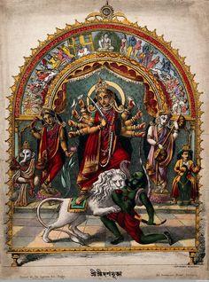 Durga slaying the Buffalo Demon Mahishasura with other deities, set in a torana. Coloured lithograph Published by Calcutta Art Studio, 185 Bowbazar. Shri Hanuman, Durga Maa, Shiva Shakti, Shiva Art, Krishna Art, Hindu Art, Maa Durga Photo, Durga Painting, Kali Mata