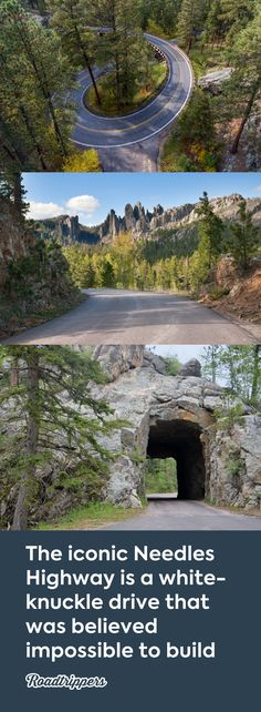 The iconic Needles Highway is a white-knuckle drive that was believed impossible to build scenic byway through South Dakota Vacation Places, Vacation Spots, Places To Travel, Places To See, Travel Destinations, Vacations, South Dakota Vacation, South Dakota Travel, South America Travel