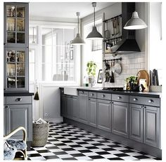Kitchen love.. Grey kitchen with dark countertops