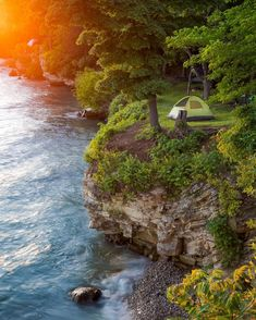 Sun setting on our home for the evening. Camping on a cliff at the Lake Erie island of Put-in-Bay, Ohio. Lake Erie Ohio, Put In Bay Ohio, Ohio State Parks, Camping In Ohio, The Buckeye State, Secret Places, Beach Trip, Beach Travel, Great Lakes