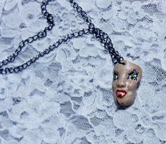 Vampire doll face handmade necklace by TheStubbornBubble on Etsy