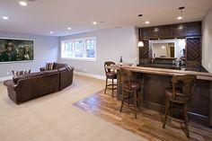 Lower level family room and bar