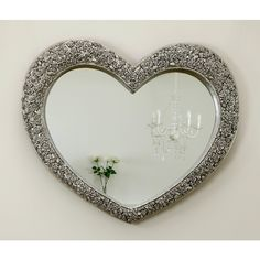 Rose Heart Antique Silver Shabby Chic Shaped Wall Mirror x V Large Heart Mirror, Heart Shaped Frame, Rose Frame, Wood Mirror, Heart Shapes, Antique Silver, Shabby Chic, Wall Decor, Antiques