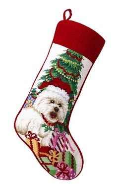 "Bichon Frise Dog Christmas Needlepoint Stocking - 11"" x 18"""