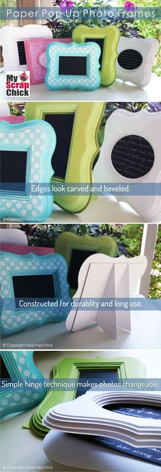 Paper Pop Up Photo Frames. These look so real, your friends will have to pick them up and touch them to believe they are actually made out of cardstock. These easy to assemble frames have a 3 dimensional look and don't require a lot of fuss. The use of Pop-Dots gives depth and that hand carved look of a wooden frame. One simple layer of chipboard backing provides the durability.  - I love this layered technique for frames or plaques!