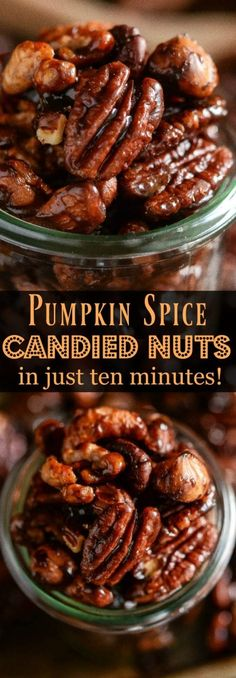 Pumpkin Spice Candied Nuts: you only need ten minutes and six ingredients to make a batch of these sweet toasted pumpkin spice mixed nuts on the stovetop! Thanksgiving Recipes, Fall Recipes, Holiday Recipes, Holiday Meals, Desert Recipes, Christmas Recipes, Recipes Dinner, Appetizer Recipes, Snack Recipes