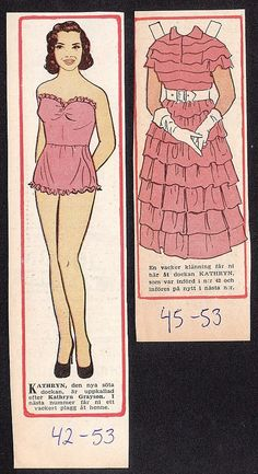 Kathryn Grayson Rare Vintage 1950s Movie Film Star Paper Doll A