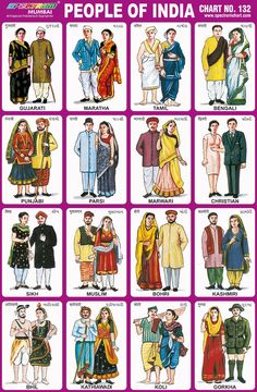 Chart No 132 - People of Indiapeople of india, indian people, diversity, gujarati,maratha, tamil, bengali, punjabi, parsi, marwari, christian, sikh, muslim, bohri, kashmiri, bhil, kathewari, koli, gorkha, different religion people, north indian, south indian