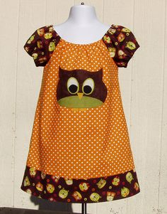 Appliqued Owl Peasant Dress, Size 4 Toddler