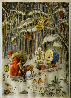 Antique Christmas Ornaments Paper and Spun Glass Advent Cards