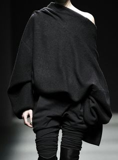 Draped charcoal blouson top