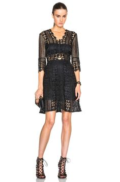 Image 1 of self-portrait A-Line Lace Up Dress in Black