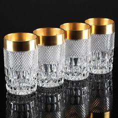 4 Vintage Weingläser Kristall Gläser Krirstallgläser Waffel Rauten Goldrand R4M