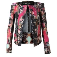 Pre-owned Balmain Floral 38fr Biker Motorcycle Jacket (101.725 RUB) ❤ liked on Polyvore featuring outerwear, jackets, none, floral biker jacket, moto jacket, flower print jacket, floral print jacket and denim biker jacket