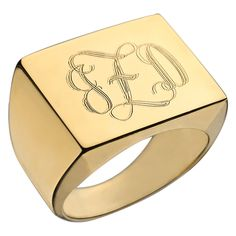 """Perfect your personal style with an engraved ring. The square shaped flat surface optimizes the space to customize up to three swirly script letters. This the best way to snag a hand select statement. <br /> <br />Engraved Swirly Initial Square Ring.  Capable of engraving up to 3 letters. Face of ring is approximately .75"""" in diameter.   Available in sizes 5-10 (half sizes available). Make sure to enter your initials in the order you would like them to appear. Please specify size in the ..."""