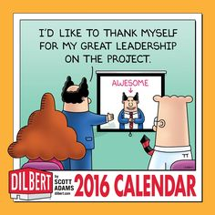 Brighten up your fabric-covered box with this beauty of a calendar. It features a large redrawn and colorized panel from a #Dilbert cartoon and two supporting strips on every monthly spread. | http://www.andrewsmcmeel.com/calendars/detail?sku=9781449465155&utm_source=gc-pinterest&utm_medium=socialmarketing&utm_content=pinboard-2016calendar-dilbert-wall&utm_campaign=social | #GoComics #comics #calendars