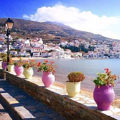 So lovely Batsi village , at Andros island (Άνδρος). Very popular tourist place on the island with a traditional charm .