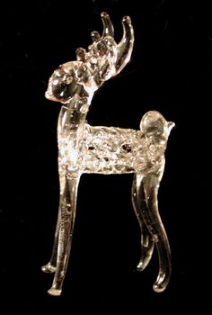 Vintage REINDEER Stag ORNAMENT Hand Spun Blown GLASS Figurine MID CENTURY MODERN