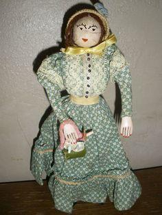 Antique Folk Art Hand Crafted Nut Head Doll Fine Prairie Lady with Flower Basket | eBay