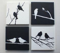 Resumen pintura original acrílico de la pared arte amor aves originales acrílico…