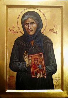 Myrtidiotissa or St. Sophia the Eldress of Kleisoura - May 6 Byzantine Icons, Orthodox Christianity, Orthodox Icons, Holy Spirit, Mona Lisa, Saints, Artwork, Inspirational, Female