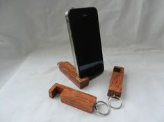 inotch1 compact wooden phone stand in Bubinga wood