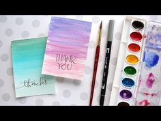 Easy DIY Thank You Cards (Ombré Watercolor) - YouTube