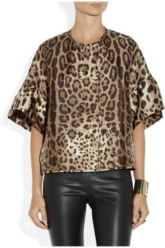 Dolce & Gabbana|Leopard-print silk-twill jacket|NET-A-PORTER.COM