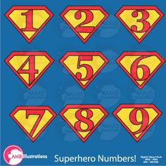 Superhero Clipart , Numbers Clipart, Superhero Numbers Cli