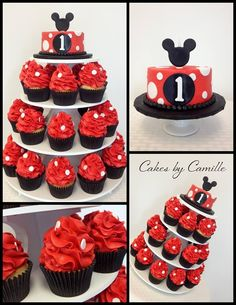Mickey Mouse cake cupcake tower with white polka dots. Pictured with matching smash cake. Mickey 1st Birthdays, Mickey Mouse Cupcakes, Mickey Mouse Clubhouse Party, Mickey Cakes, Mickey Mouse Clubhouse Birthday, Mickey Mouse Parties, Mickey Birthday, Mickey Party, Disney Parties