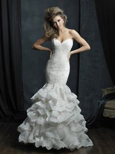 Image of a glamorous and romantic column gown with lace and ruffles // Allure Couture C384
