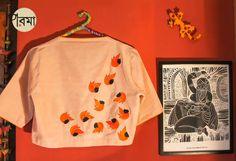 Palash Blouse : Parama : Pinned by Sujayita Embroidered Blouse, Embroidery Dress, Hand Embroidery, Sari Blouse, Indian Blouse, Indian Wear, Maggam Work Designs, Back Neck Designs, Blouse Patterns