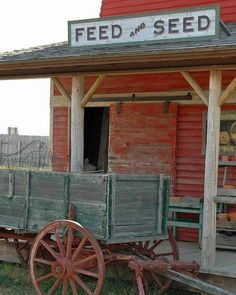 Farm wagon and old feed store. Bar Country, Old Country Stores, Country Charm, Country Life, Country Girls, Country Living, Country Roads, Old Western Towns, Western Signs