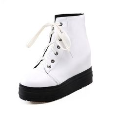 BalaMasa Womens American Muffin Buttom Lace-Up Platform Imitated Leather Boots *** Review more details here : Rain boots