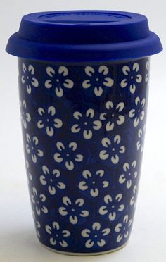 Polish Pottery - Travel Mug - Modern Blue | The Polish Pottery Outlet