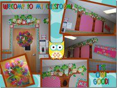 Owl classroom theme owl themed classroom–stephanie allgood o Owl Classroom Decor, New Classroom, Classroom Design, Kindergarten Classroom, Classroom Themes, Classroom Organization, Class Decoration, School Decorations, School Themes
