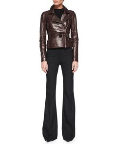 Burliny Tie-Waist Leather Jacket & Jotsna Cavalry Flare Pants by Theory at Bergdorf Goodman.